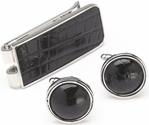 Money Clip and Cufflinks Luxury Gift Set - Genuine Alligator Skin Leather - Black