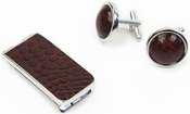 Money Clip and Cufflinks Luxury Gift Set - Genuine Alligator Skin Leather - Cognac