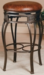 Montello Metal 30'' Bar Height Backless Stool with Brown Vinyl Swivel Seat - Old Steel [4361-831-FS-HILL]