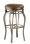 Montello Metal 26'' Counter Height Backless Stool with Brown Vinyl Swivel Seat - Old Steel [4361-827-FS-HILL]