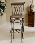 Montello Metal 28'' Counter Height Stool with Brown Faux Leather Swivel Seat - Old Steel [41544-FS-HILL]