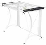 Monterey Clear Tempered Glass and Steel Craft Station with Adjustable Angle Top - White [13315-FS-SDI]