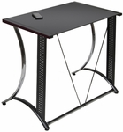 Monterey Black Tempered Glass and Steel 35''W x 20''D x 30''H Desk - Chrome and Black [50401-FS-SDI]