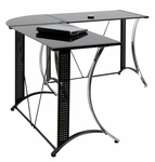 Monterey BlackTempered Glass and Steel Space Saving L Shaped Corner Desk - Black [50400-FS-SDI]
