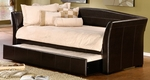 Montgomery Faux Leather Upholstered Sleigh Daybed Set with Trundle - Brown [1560DBT-FS-HILL]