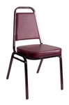 Montour Stacking Chair - Black Frame and 2'' Thick Burgundy Vinyl Seat [DC2082-BU-BL-BFMS]