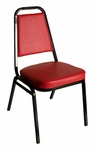 Montour Stacking Chair - Black Frame and 2'' Thick Red Vinyl Seat [DC2082-RD-BL-BFMS]