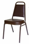 Montour Stacking Chair - Brown Frame and 2 inch Brown Vinyl Seat [DC2082-BR-BR-BFMS]
