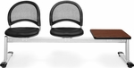 Moon 3-Beam Seating with 2 Black Vinyl Seats and 1 Table - Cherry Finish [333T-VAM-606-CH-MFO]