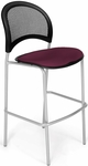 Moon Cafe Height Chair with Fabric Seat and Silver Frame - Burgundy [338S-2211-MFO]