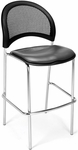 Moon Cafe Height Chair with Vinyl Seat and Chrome Frame - Charcoal [338C-VAM-604-MFO]