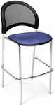 Moon Cafe Height Chair with Fabric Seat and Chrome Frame - Colonial Blue [338C-2204-MFO]