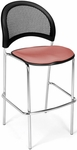 Moon Cafe Height Chair with Fabric Seat and Chrome Frame - Coral Pink [338C-2208-MFO]
