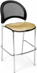Moon Cafe Height Chair with Fabric Seat and Chrome Frame - Golden Flax [338C-2205-MFO]