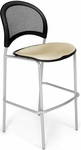 Moon Cafe Height Chair with Fabric Seat and Silver Frame - Khaki [338S-2209-MFO]