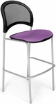 Moon Cafe Height Chair with Fabric Seat and Silver Frame - Plum [338S-2214-MFO]