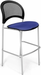 Moon Cafe Height Chair with Fabric Seat and Silver Frame - Royal Blue [338S-2210-MFO]