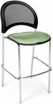 Moon Cafe Height Chair with Fabric Seat and Chrome Frame - Sage Green [338C-2207-MFO]
