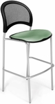 Moon Cafe Height Chair with Fabric Seat and Silver Frame - Sage Green [338S-2207-MFO]