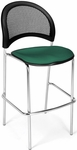 Moon Cafe Height Chair with Fabric Seat and Chrome Frame - Shamrock Green [338C-2201-MFO]