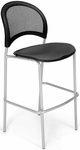 Moon Cafe Height Chair with Fabric Seat and Silver Frame - Slate Gray [338S-2213-MFO]