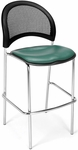 Moon Cafe Height Chair with Vinyl Seat and Chrome Frame - Teal [338C-VAM-602-MFO]