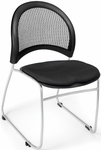 Moon Stack Chair with Fabric Seat Cushion - Black [335-2224-MFO]