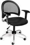 Moon Swivel Chair with Vinyl Seat with Arms - Black [336-VAM-AA3-606-FS-MFO]