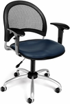 Moon Swivel Chair with Vinyl Seat with Arms - Navy [336-VAM-AA3-605-FS-MFO]