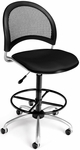 Moon Swivel Chair with Drafting Kit - Black [336-DK-2224-FS-MFO]