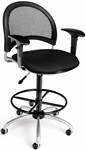 Moon Swivel Chair with Arms and Drafting Kit - Black [336-AA3-DK-2224-FS-MFO]