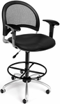 Moon Swivel Chair with Vinyl Seat with Arms and Drafting Kit - Black [336-V-AA3DK-606-FS-MFO]