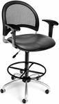 Moon Swivel Chair with Vinyl Seat with Arms and Drafting Kit - Charcoal [336-V-AA3DK-604-FS-MFO]