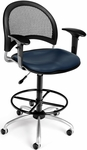 Moon Swivel Chair with Vinyl Seat with Arms and Drafting Kit - Navy [336-V-AA3DK-605-FS-MFO]