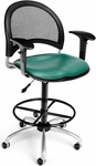 Moon Swivel Chair with Vinyl Seat with Arms and Drafting Kit - Teal [336-V-AA3DK-602-FS-MFO]