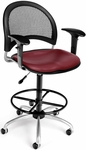 Moon Swivel Chair with Vinyl Seat with Arms and Drafting Kit - Wine [336-V-AA3DK-603-FS-MFO]