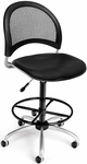 Moon Swivel Chair with Vinyl Seat with Drafting Kit - Black [336-VAM-DK-606-FS-MFO]