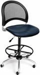 Moon Swivel Chair with Vinyl Seat with Drafting Kit - Navy [336-VAM-DK-605-FS-MFO]