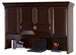 kathy ireland Home™ Mount View Collection 73''W x 47''H Storage Hutch with Pull Out Task Light - Cobblestone Cherry [MV722-FS-KIMF]