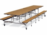 MTB Series Mobile Folding Bench Table with 15''H Bench Seating - 30''W x 144''D x 27''H [MTB152712-VCO]