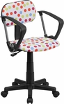 Multi-Colored Dot Printed Swivel Task Chair with Arms [BT-D-MUL-A-GG]