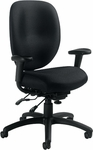 Multi-Function Chair with Height Adjustable Pivoting Arms - Black Fabric [OTG11653-QL10-FS-GLO]