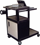 3 Shelf Heavy Duty A/V Utility Cart with Locking Cabinet, Pullout Keyboard, and Large Bottom Shelf - Black - 32''W x 24''D x 44.25''H [LT45PC-B-FS-LUX]