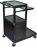Heavy Duty A/V Utility Cart with Locking Cabinet, Pullout Keyboard, and Large Bottom Shelf - Black - 32''W x 24''D x 44.25''H [LT45PC-B-FS-LUX]
