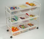 Multi-Purpose Cart with 9 Clear Open Storage Tubs - White [CC005-9-C-FS-CPR]