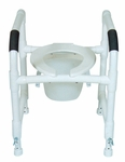 Multi-Purpose Toilet Safety Frame with Deluxe Elongated Open Front Commode Seat - 22''W X 20''D X 18''H [190-TSF-A-MJM]