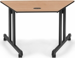 46.25'' W x 23'' D Trapezoid Table - Maple Top [55248-MPL-BLK-FS-MFO]