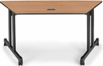 60'' W x 24'' D Trapezoid Table - Maple Top [55260-MPL-BLK-FS-MFO]