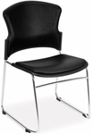 Multi-Use Stack Chair with Anti-Microbial and Anti-Bacterial Vinyl Seat and Back - Black [310-VAM-606-MFO]