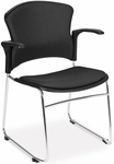 Multi-Use Stack Chair with Fabric Seat and Back with Arms - Black [310-FA-805-MFO]